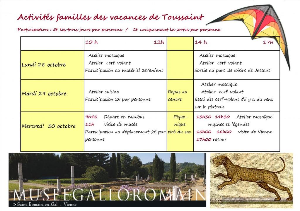planning vacances Toussaint 2013