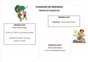 PLANNINGS MERCREDIS