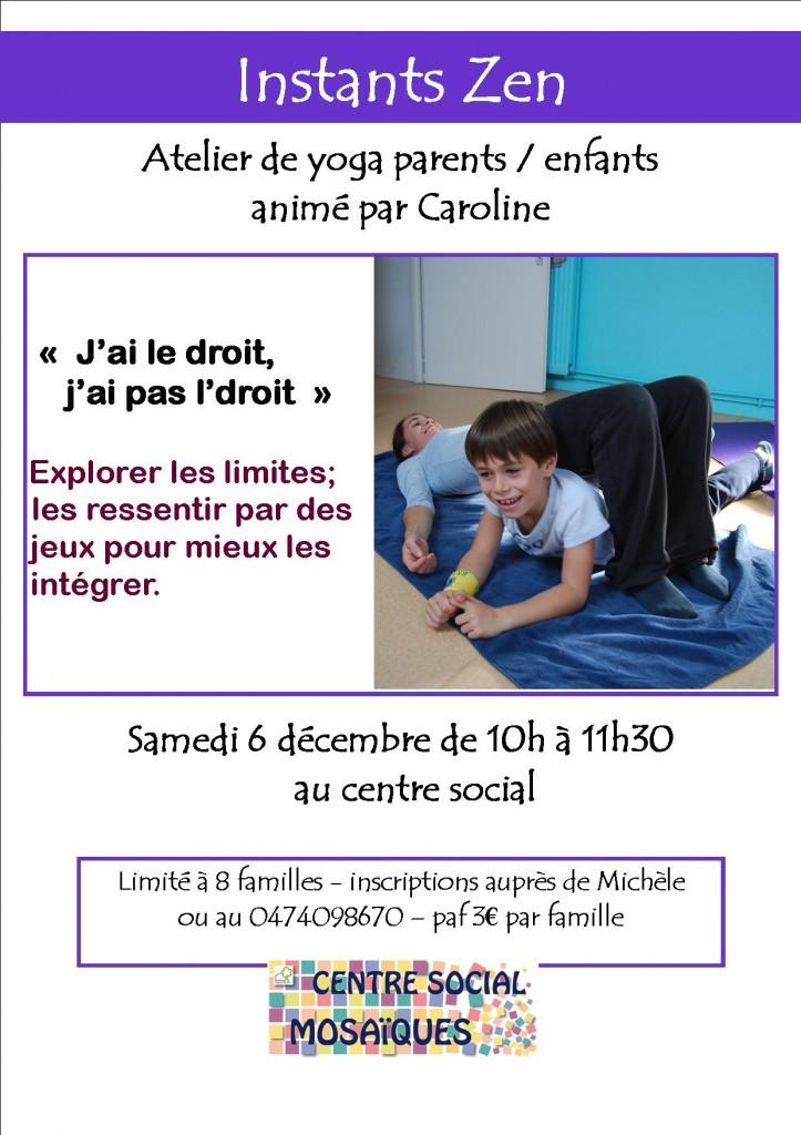 affiche atelier parents enfants instant zen décembre 2014